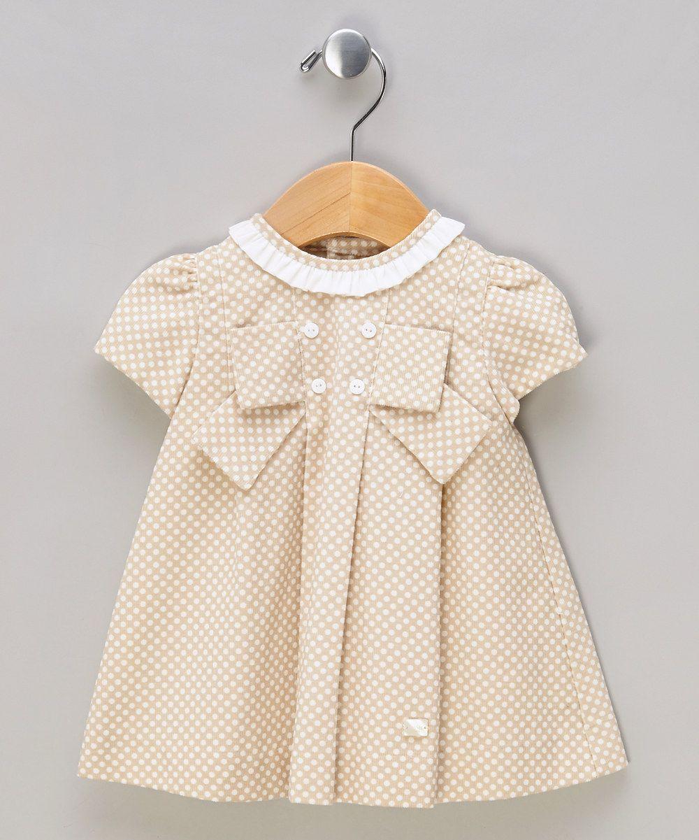 Camel dotty short sleeve dress by elisa menuts 아동의류