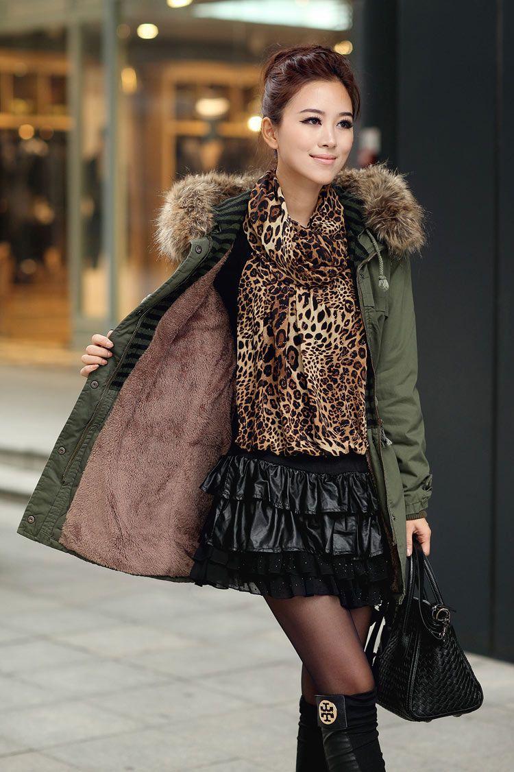 c6c1333ea67e4 Womens Winter Coats Faux Fur Lining Parka With Fur Hood In Green on Luulla