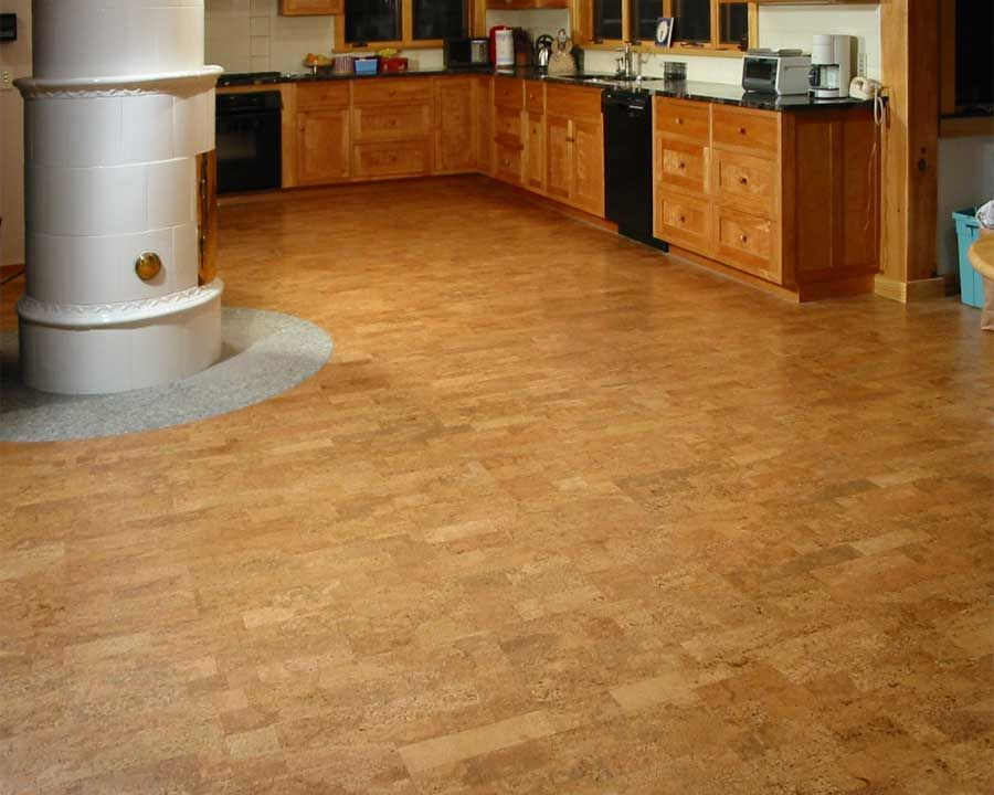 Cork flooring installation photos private residence for Commercial kitchen flooring ideas