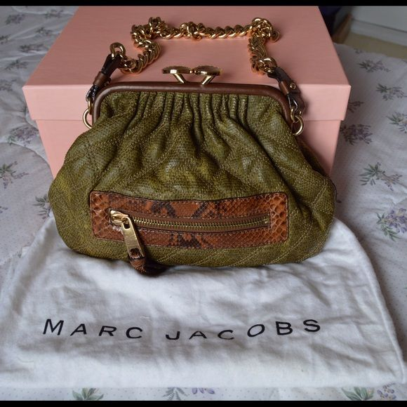 dcfc5b7f17 AUTH Marc Jacobs Python Stam Bag Authentic Marc Jacobs STAM bag bought from  Saks 5th ave in NYC. Used literally once. This is a canvas bag with a moss  green ...