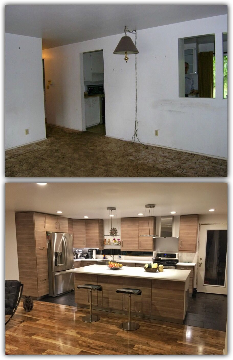 Before And After Of Our Kitchen 4 Ft By 8ft Island And 8ft Kitchen Window Under Cabinet Led Lighting With Outlet Strip Kitchen Home Remodeling Kitchen Window