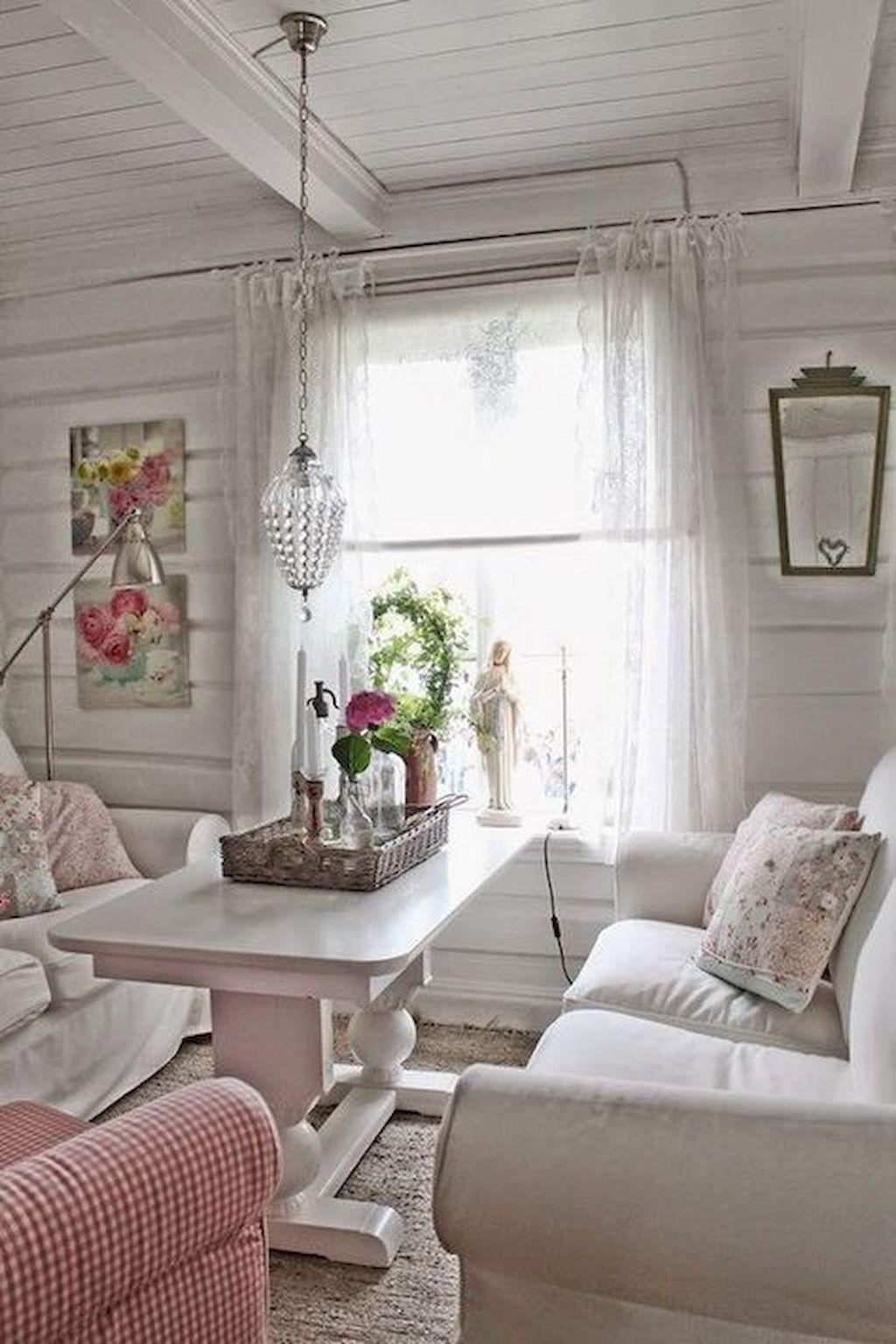 Awesome 80 Shabby Chic Farmhouse Living Room Decor Ideas https ...