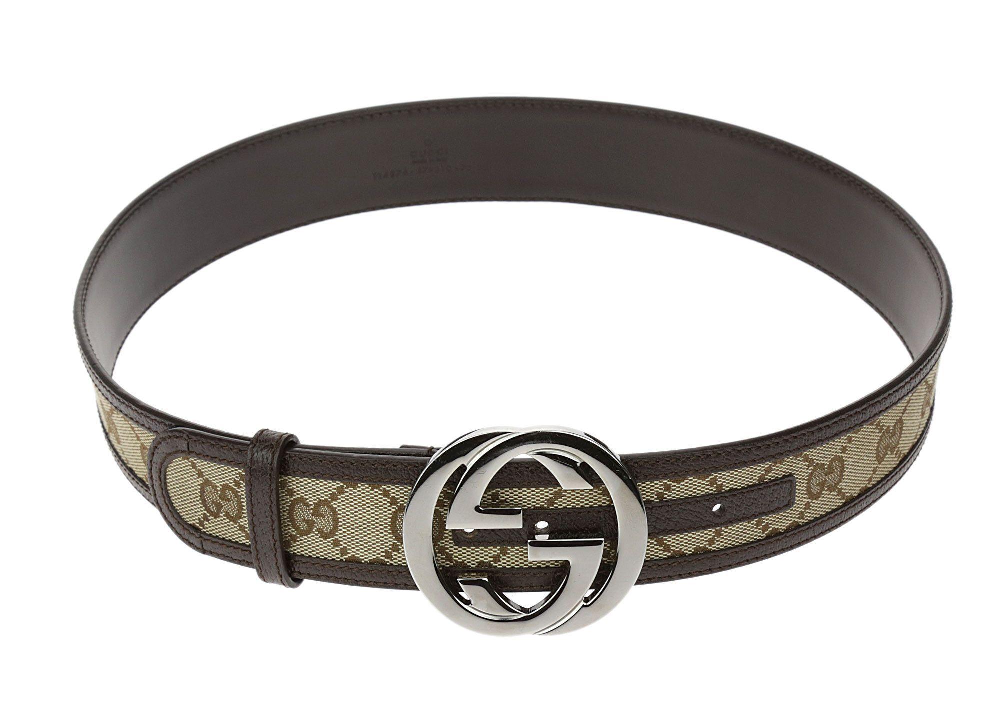232df18e2 Gucci Brown GG Monogram Belt Interlocking G Buckle 75/30 | Gucci ...