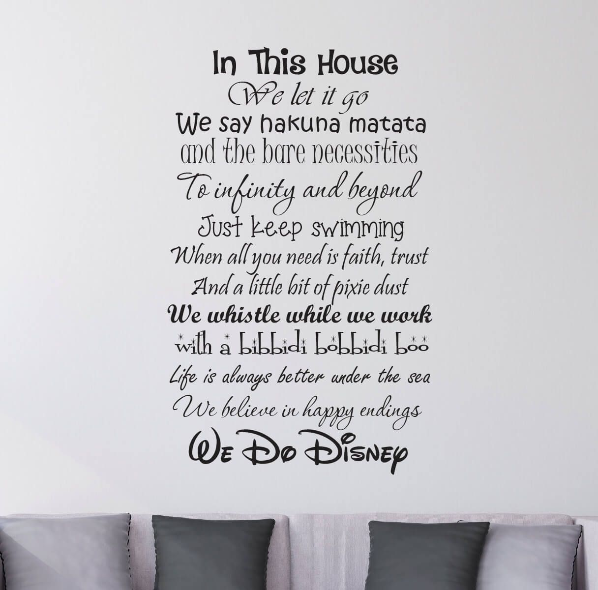 In this house we do disney wall stickers decals quote wall in this house we do disney wall stickers decals amipublicfo Choice Image