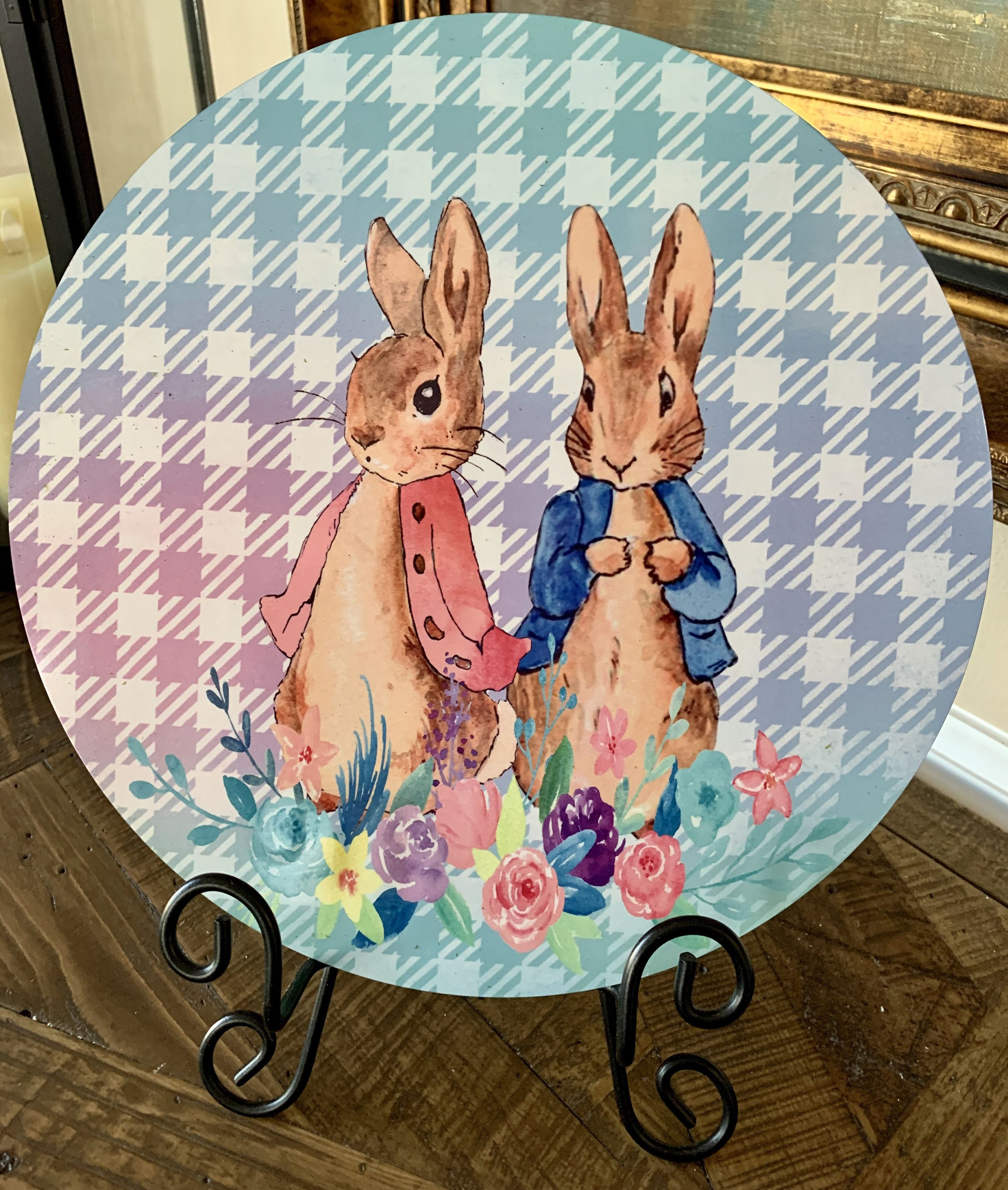 Wreath Sign Aluminum Wreath Sign Personalize it by Pam Whimsical Easter Wreath Sign Front door decor Door decor Easter Wreath Sign