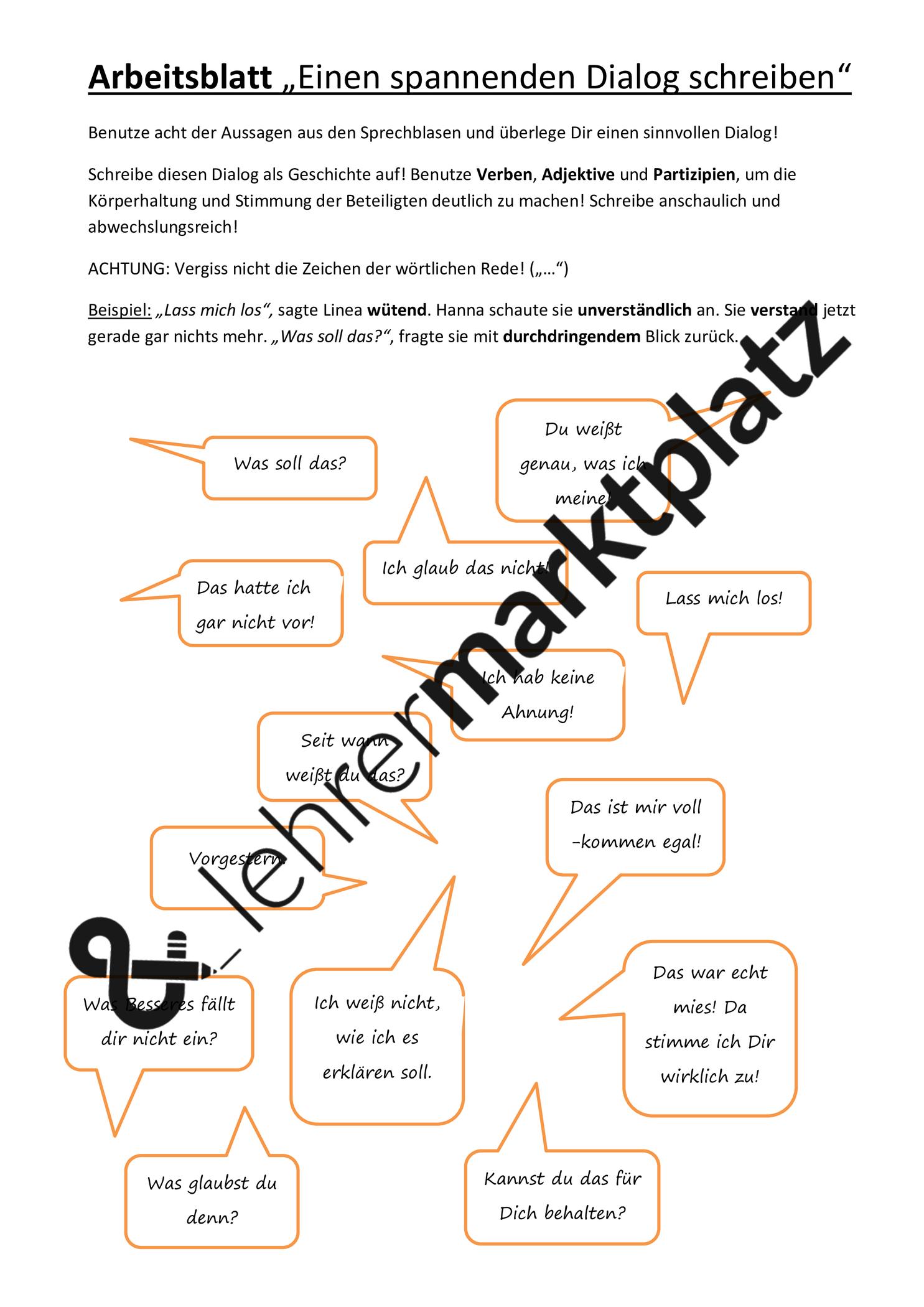 Arbeitsblatt Einen Spannenden Dialog Schreiben Unterrichtsmaterial Im Fach Deutsch In 2020 Arbeitsblatter Deutsch Unterricht Adjektive