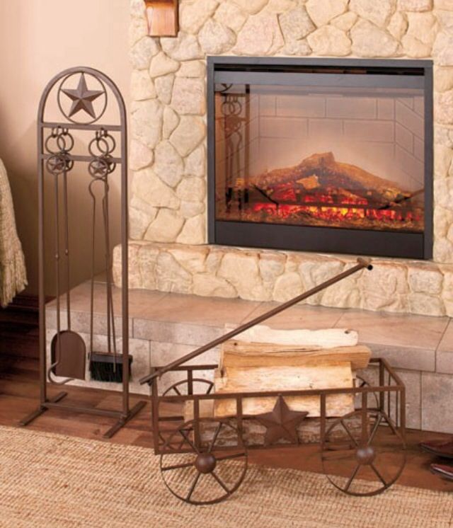 I ABSOLUTELY LOVE THIS!! It's at the top of my wish list! LOL  5-Pc. Rustic star Fireplace Tool Set & Metal Wagon from eBay $44!