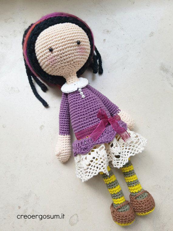 Amigurumi art doll for girl baby shower crochet doll present ...