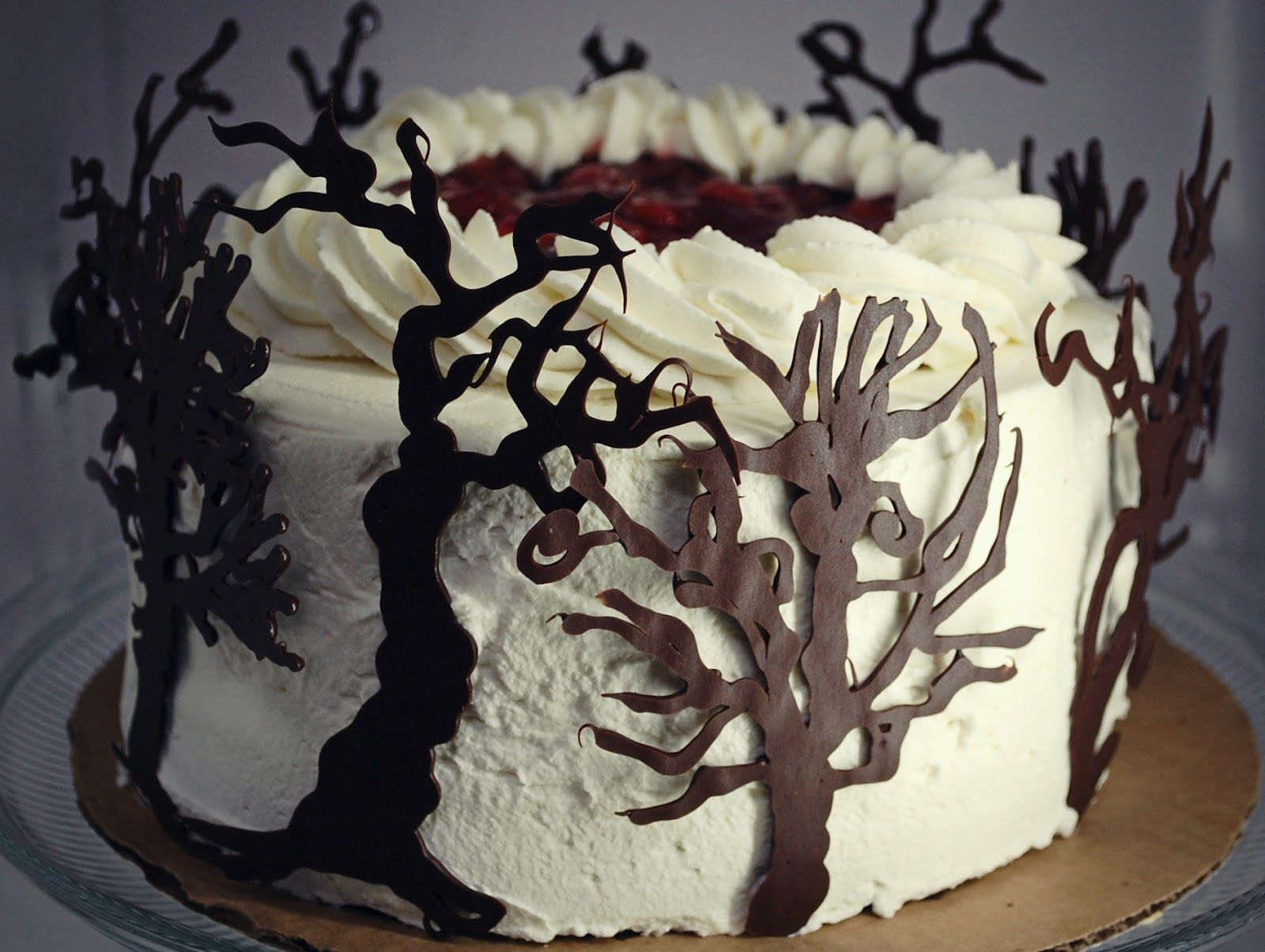 Black Forest Cake With Chocolate Trees