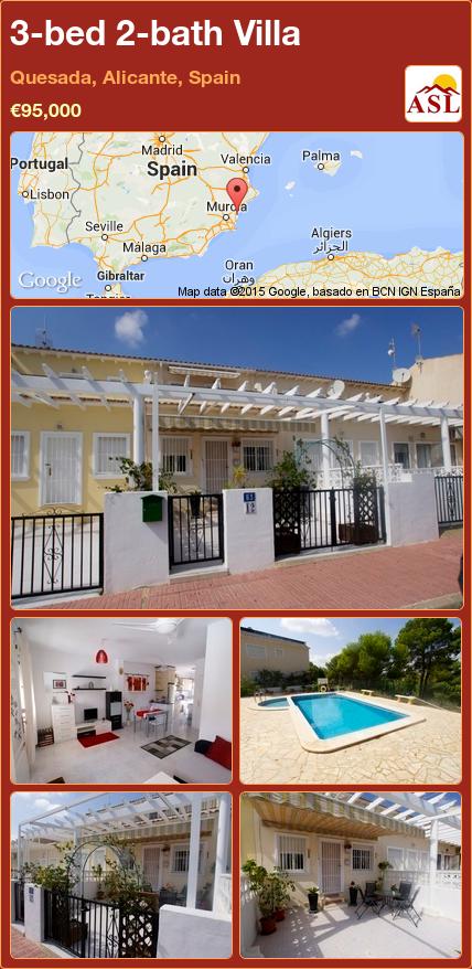 3-bed 2-bath Villa in Quesada, Alicante, Spain ►€95,000 #PropertyForSaleInSpain