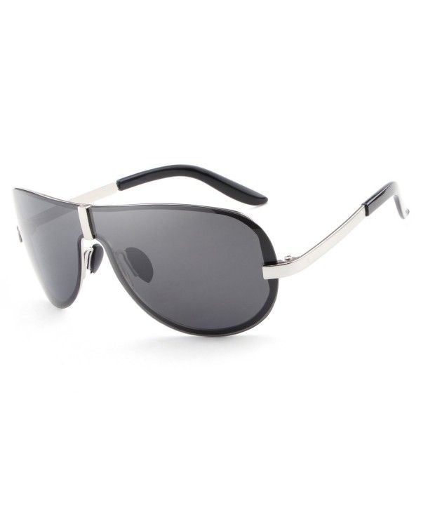 5f0c4741f6140 HDCRAFTER Oversized Polarized Sunglasses Anti Reflective - Silver ...