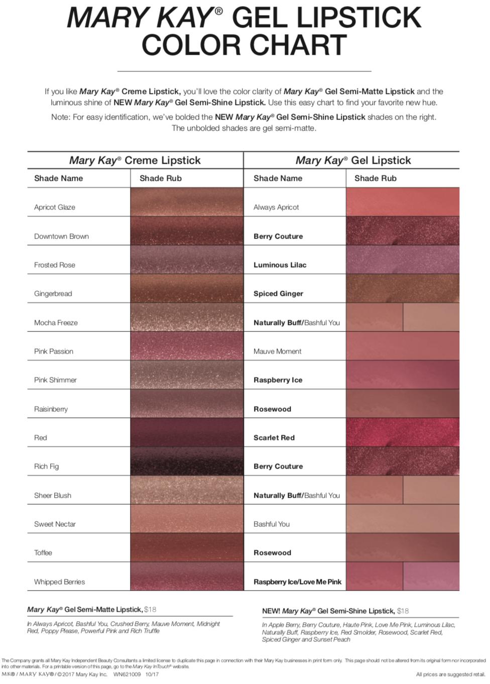 Mary Kay Creme Lipstick Conversion Chart Anexa Market
