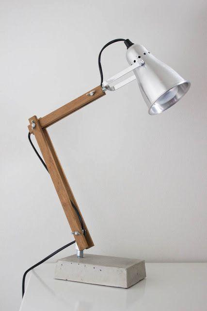 Industrial Style Desk Lamp With Ikea Fas Lampe En Beton Bricolage Bois Lampe Style Industriel