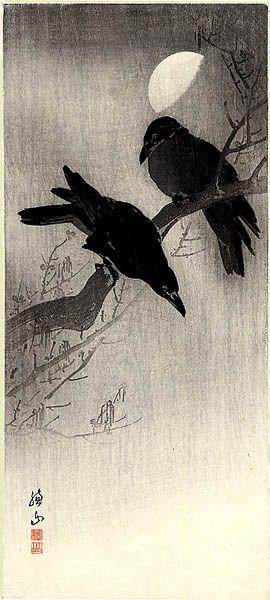 Two Crows and Half Moon by Ito Sozan | Bird art, Crow, Japanese art