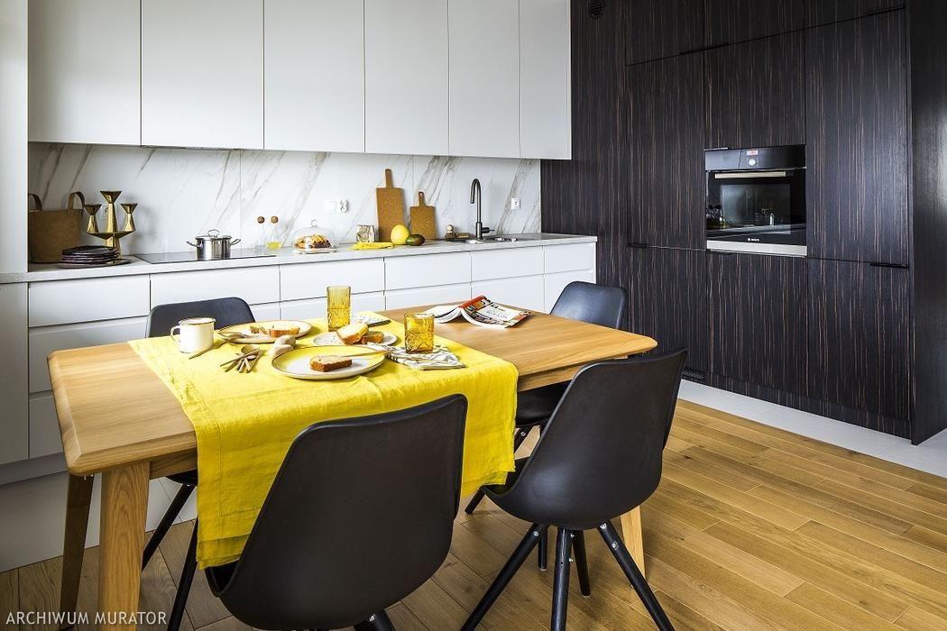 Biala Kuchnia Z Ciemnym Fornirem Home Decor Furniture Conference Room Table