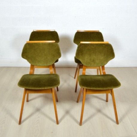 Quatre chaises Louis Van Teefelen années 60 #chaises #chaise #louis