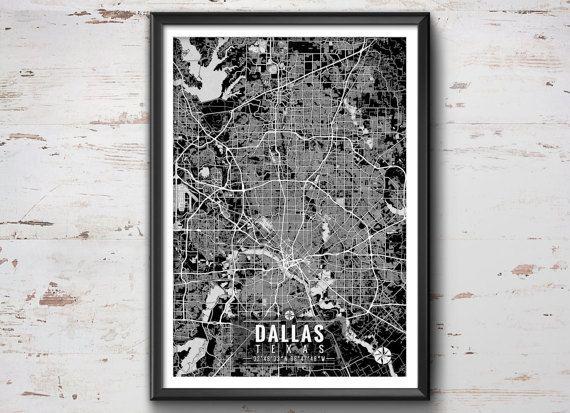 DALLAS Texas Map with Coordinates, Dallas Map, Map Art, Map Print ...