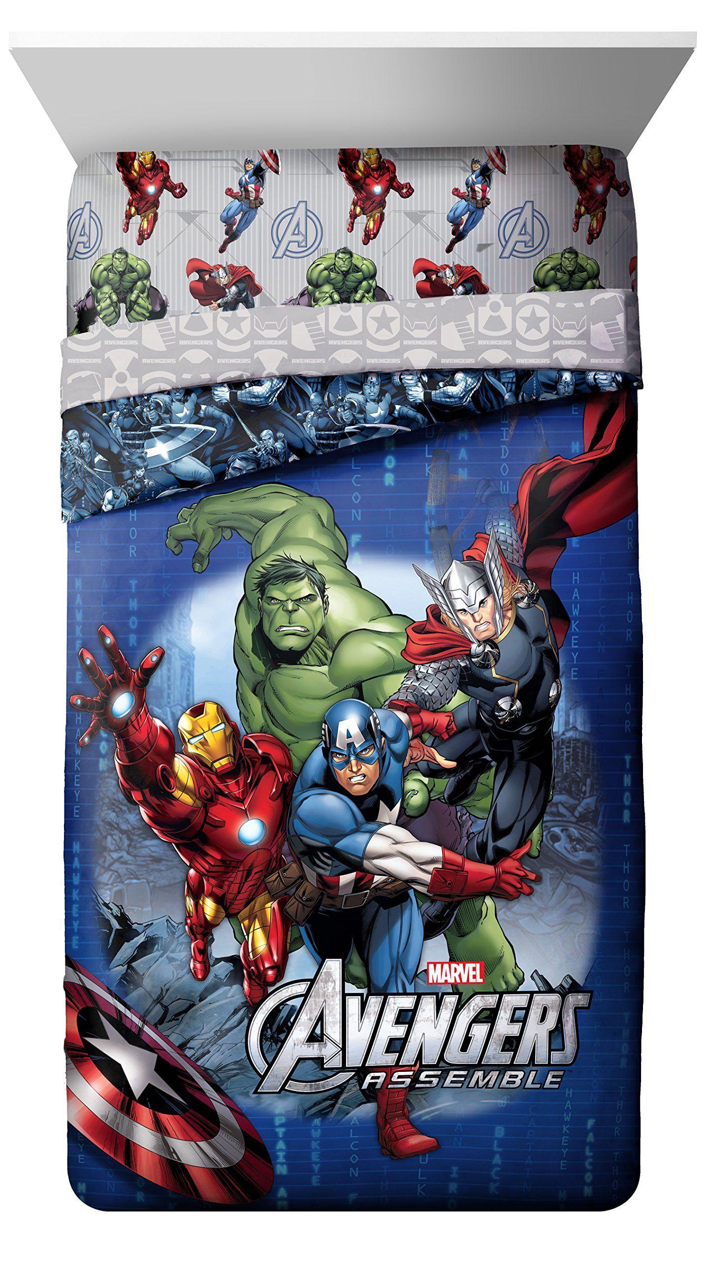 duvet pin thor avengers shield iron reversible single cover comforter marvel man hulk