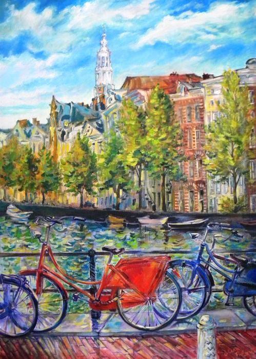 Elena Polyakova (1970). Uitzicht op Zuiderkerk te Amsterdam - olieverf op doek - 2012