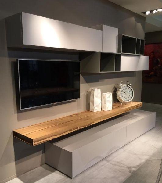 Parete attrezzata per un soggiorno moderno napol al for Parete attrezzata design moderno