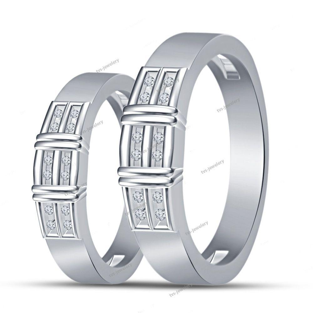 14K White Gold Finish 925 D/VVS1 Diamond Round Cut Couple Band Ring Set Sz 5-14…