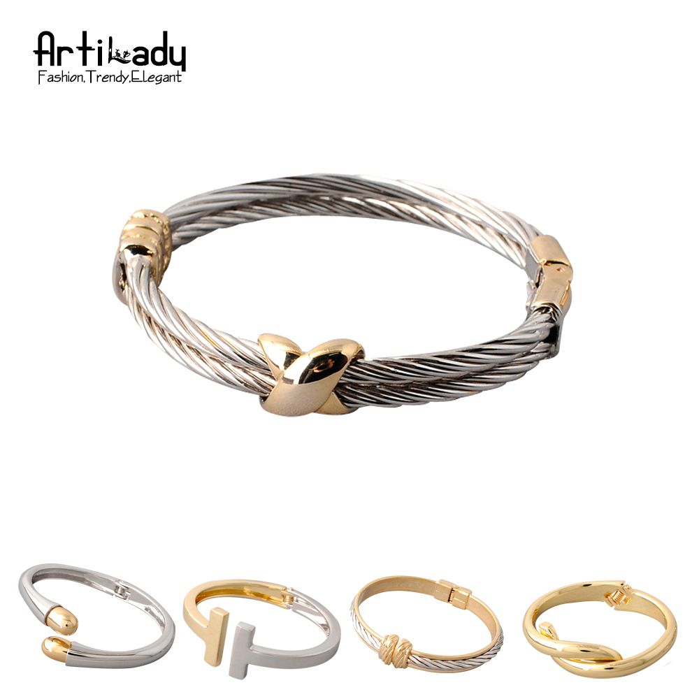 Artilady fashion bangles options vintage cuff bangle twist women