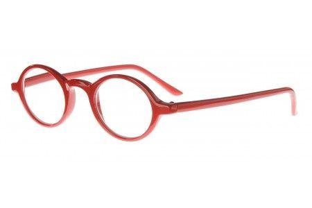 Ook wel de kleine Youp genoemd. Elegante bril met intellectuele uitstraling.    Fel rood.