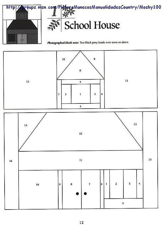 school house paper pieced block paper piecing patterns - pattern block template