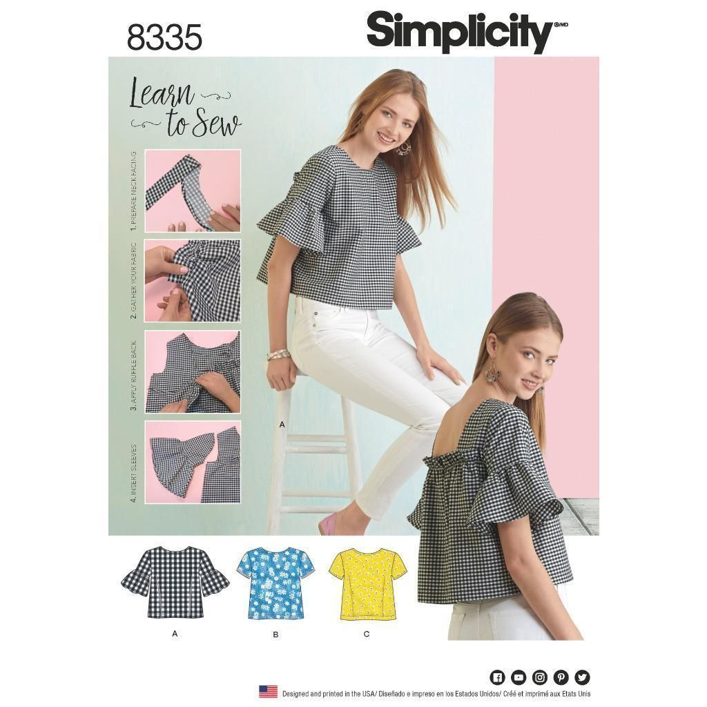 Simplicity Sewing Pattern Misses\' Learn To Sew Top Back Interest Xxs ...