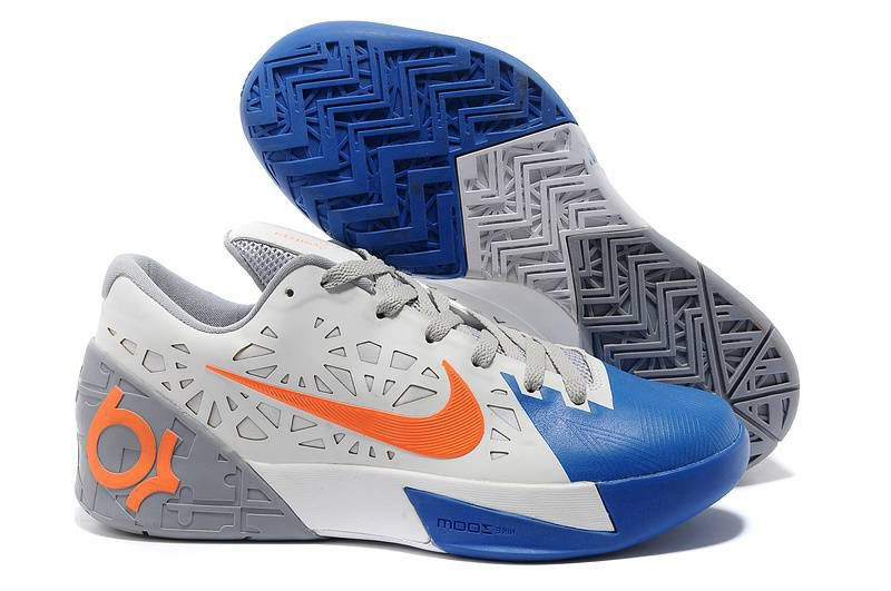 Nike KD Trey 5 White Wolf Grey Royal Blue Orange Shoes