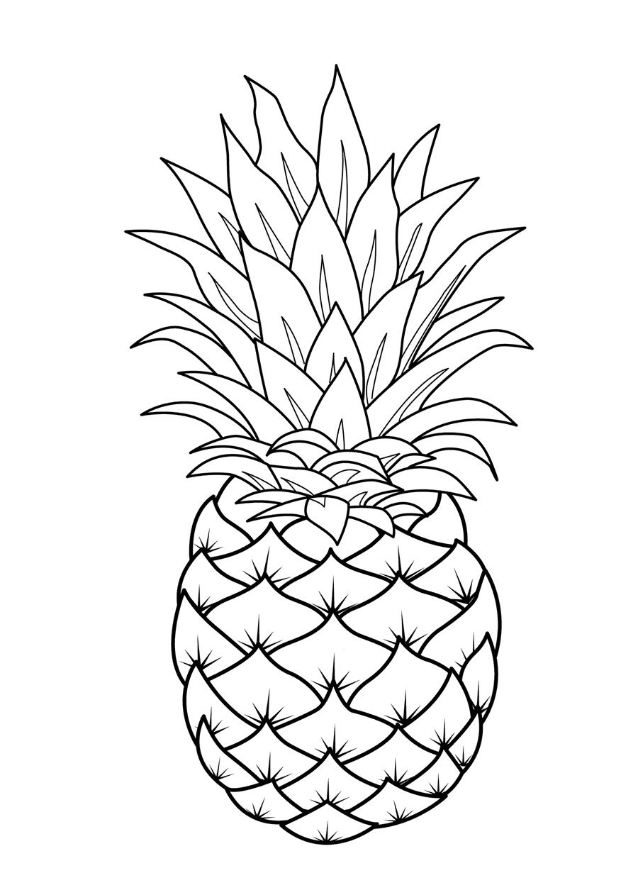 Fruits coloring pages printable - Ananas dessin ...