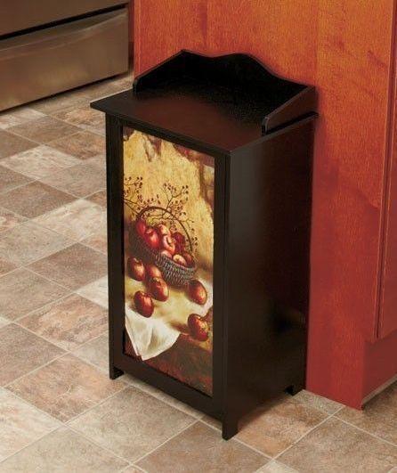 Wooden Trash Can Apple 13 Gallon Recycle Garbage Bin Home Kitchen Dining Room Apple Kitchen Decor Kitchen Decor Ebay Decor