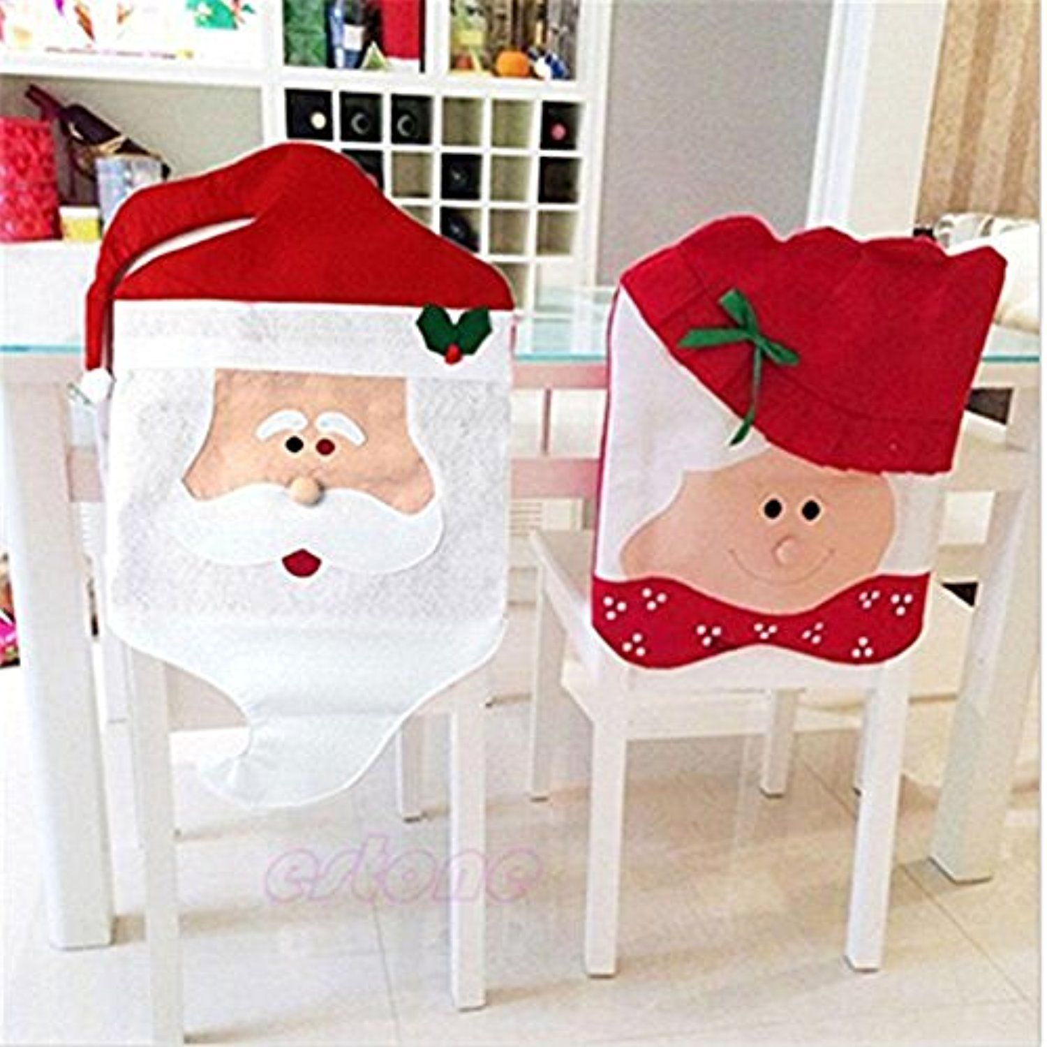 2pcs Lot Santa Claus Snowman Elk Red Hat Chair Back Covers For Christmas Party Decoration Pattern Woven Set Awesome Pr