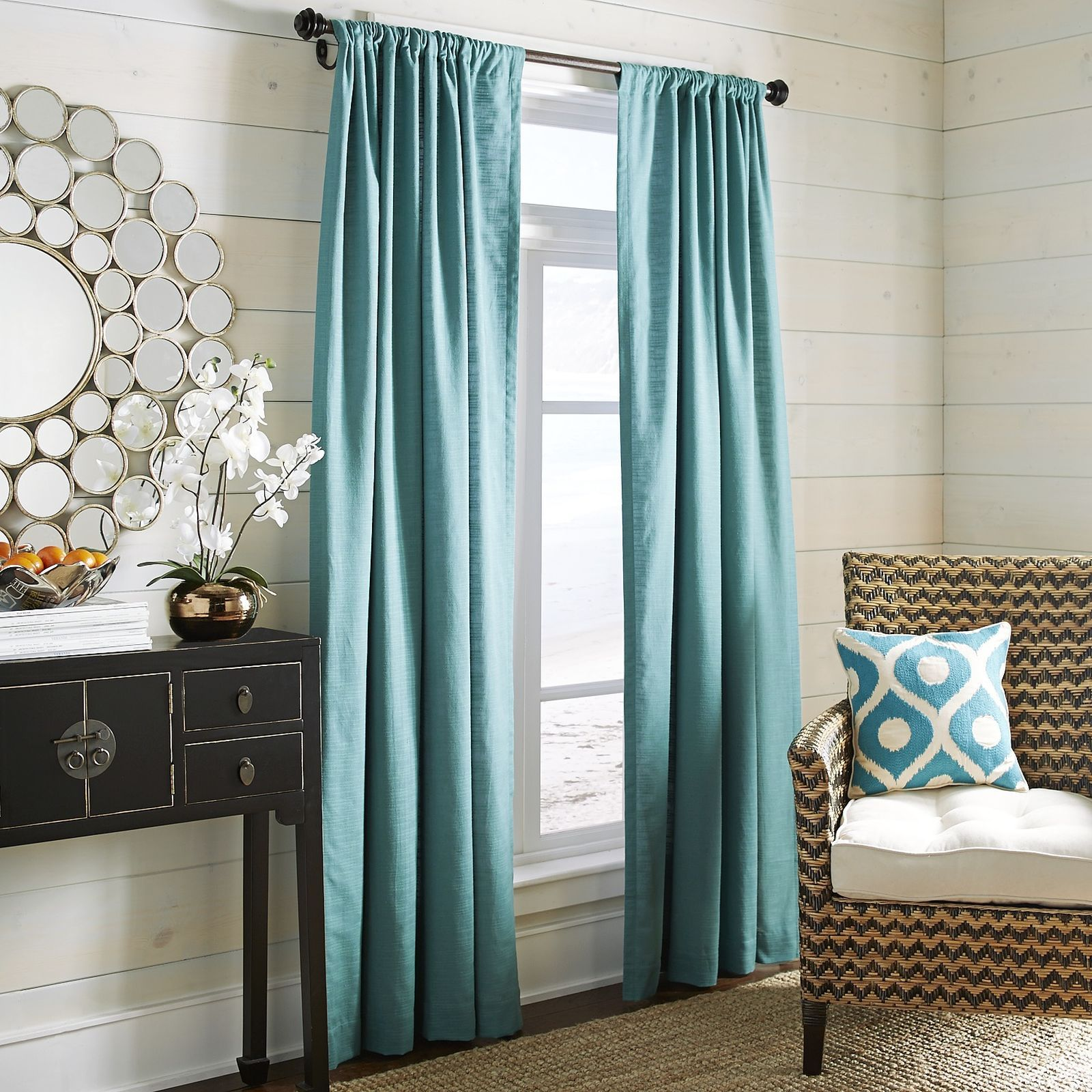 aqua and brown living room curtains false ceiling designs for photos india whitley curtain teal pier 1 imports decor
