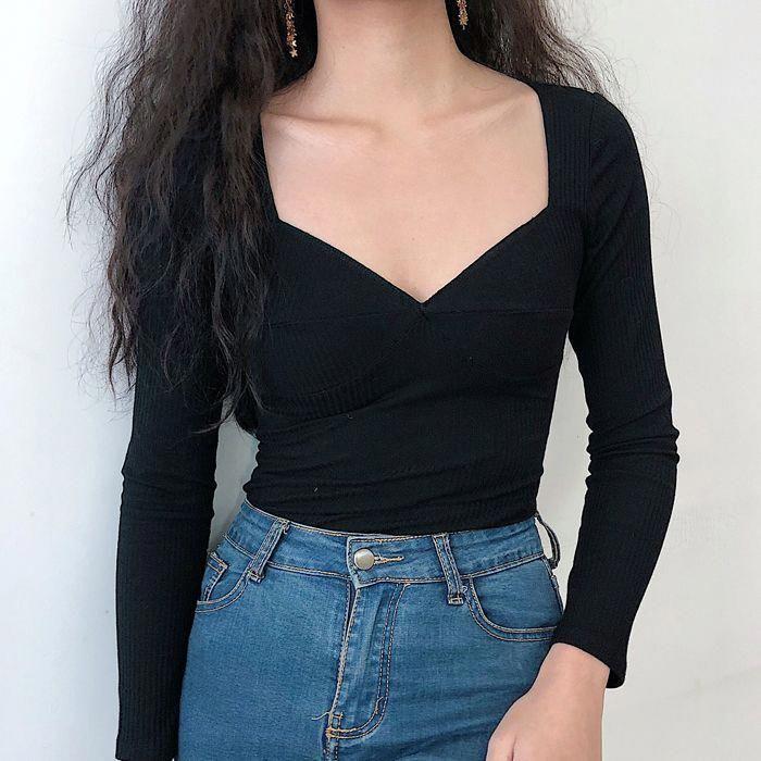 Long sleeve threaded black T-shirt from FE CLOTHING 1
