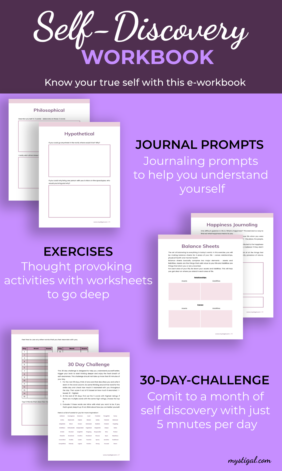 Self Discovery Journal And Worksheets Self Discovery
