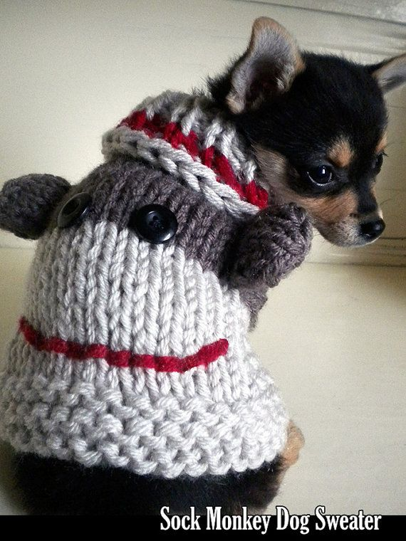 Sock Monkey Dog Sweater Knitting Pattern Booties Pinterest