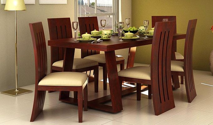 Buy Jaoquin 6 Seater Dining Set Mahogany Finish Online In India