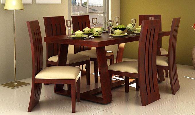 Buy Jaoquin 6 Seater Dining Set Mahogany Finish Online In