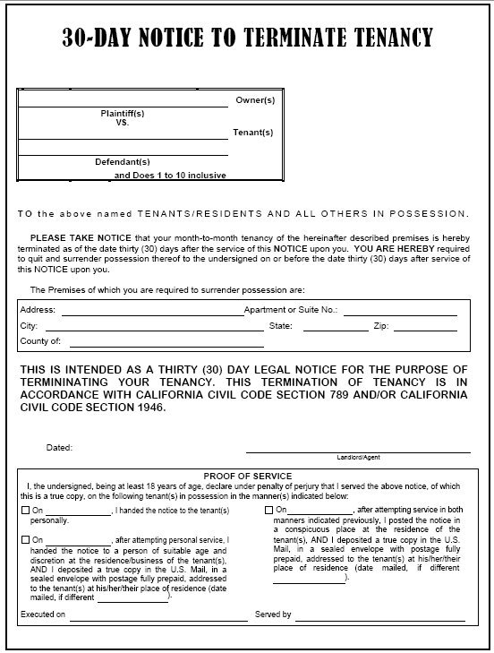 California 30Day Notice to Terminate Tenancy Evictme – 30 Day Eviction Notice