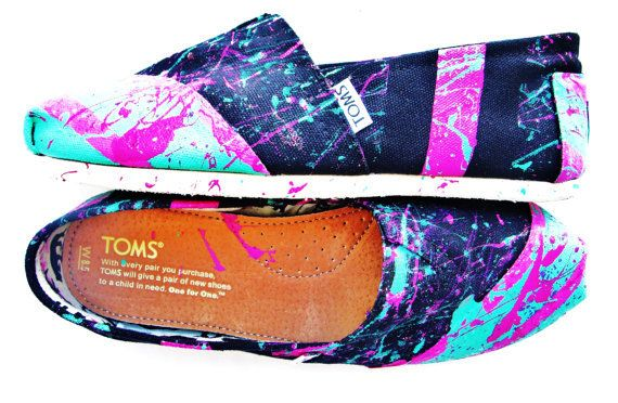 The Millie - Fuscia and Teal Neon Splatter Paint Custom TOMS  From FruitfulFeet on Etsy