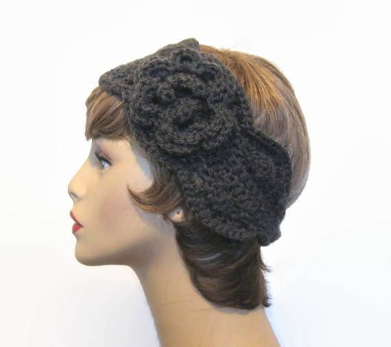 Gray Headband with Flower Crochet Headband Charcoal Head Band with Flower  Dark Grey knit Headband D c497b8b79ea