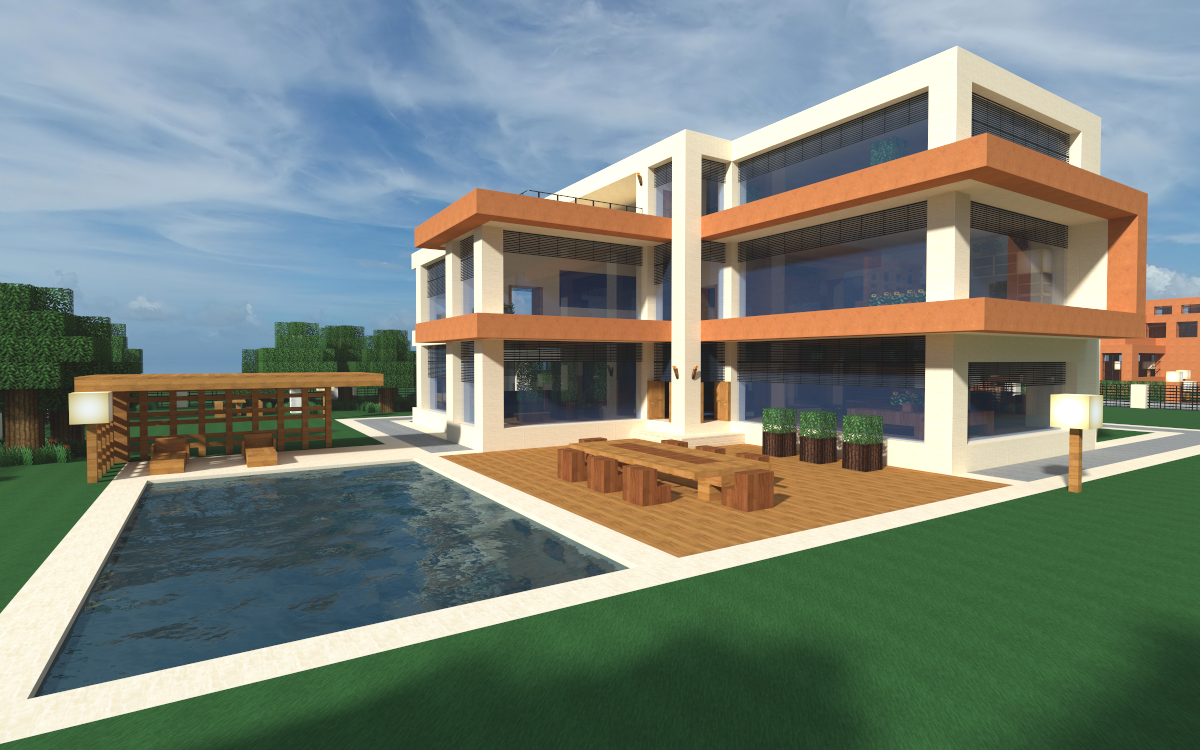 Another minecraft house via reddit user deathicestorm for Modern house mansion