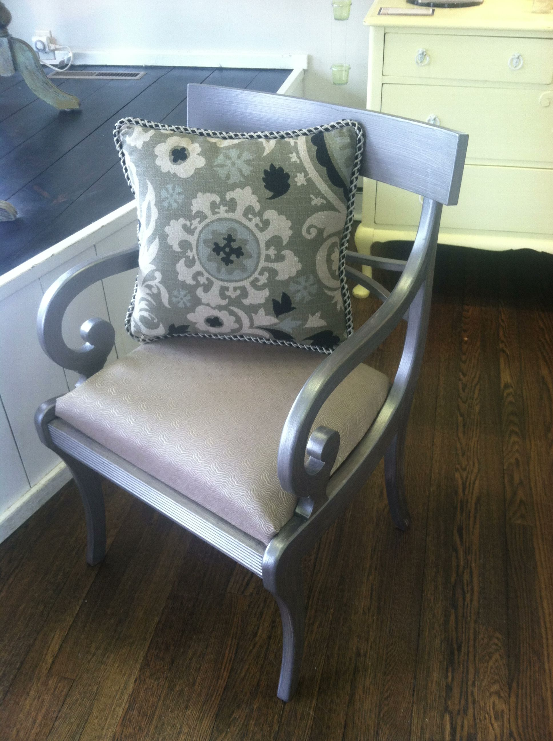 Old Mahogany Arm Chair Painted APC Rushmore, Then Silver Leafed And Custom  Upholstered In A