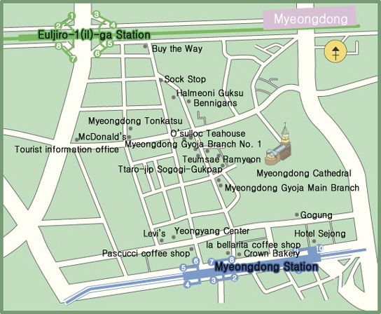 Useful map of restaurants in Myeongdong Travelling the world