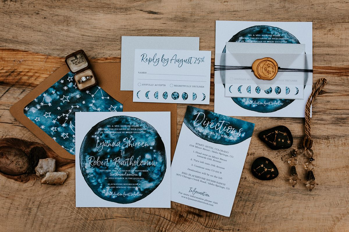 Celestial Of Thrones Wedding Inspiration Custom Invitation Set With Galaxy Watercolor Moon Phases Constellations And Gold Wax Seal