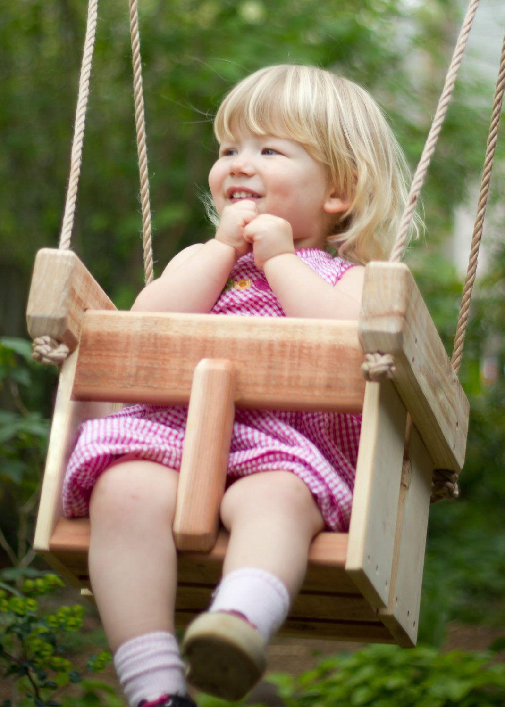 Baby swing or toddler swing cedar handmade porch or tree swing
