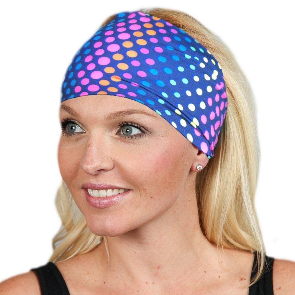 Wide Headbands for Women Headwrap Yoga Headband Women s Headband Workout  band - Colored Dots - CI1899T9MEA - Hats   Caps 42840f5d605