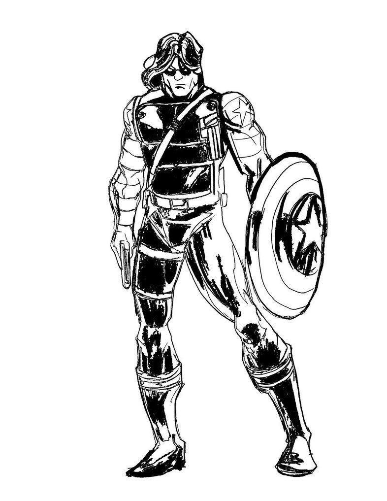 The Winter Soldier ink by danielsingzon on DeviantArt  LineArt
