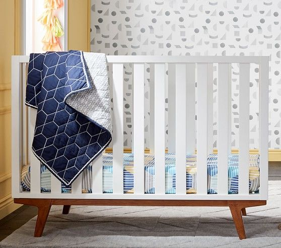 West Elm X Pbk Honeycomb Baby Bedding Convertible Crib